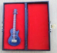 1:12th Scale Blue Guitar & Black Case Dolls House Miniature Music Instrument 551