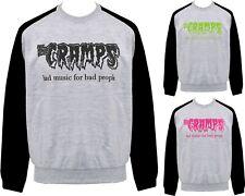 The Cramps Unisex PSYCHOBILLY Raglan Sweatshirt Bad Music for Bad People Punk