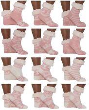 Hütten- Socken Schuhe Hausschuhe Rosa Weiß ABS Teddy -