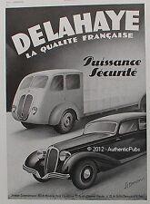 PUBLICITE AUTOMOBILE DELAHAYE CAMION QUALITE FRANCAISE DE 1940 FRENCH ADVERT CAR