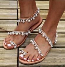 Womens Roman Beaded Flat Sandals Slip On Clip Toe Flip Flops Summer Beach Shoes