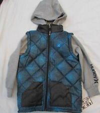 HURLEY boys Lg poly fill vest fleece hoodie zip jacket 2fer blue black plaid dot