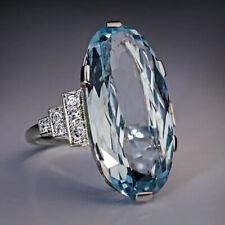 Elegant 925 Silver Wedding Rings Women Oval Cut Aquamarine Rings Size 6-10