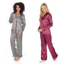 Women's Ladies Satin Stripe Pyjama PJ Set Buttoned Top Bottoms Forever Dreaming