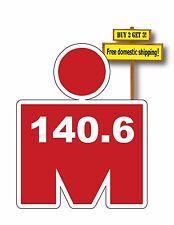 """Iron Man 140.6 Marathon Swim Bike Decal/Sticker Red or Pink 3.5"""" x 4.4"""""""