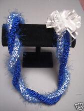 Hawaiian Rattail Eyelash Yarn Crochet Lei Blue White