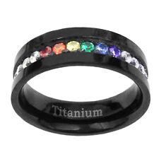 6mm Black Titanium Unisex Lesbian Gay Pride Wedding Band Rainbow CZ Ring