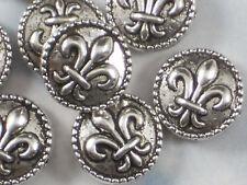 8 Fleur de Lis 16mm Coin Beads Antique Silver Tone Side to Side Hole NOLA #P393