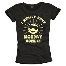 Divertente maglietta con stampa lunedì da Donna Top Fun T-SHIRT NERO S M L 36 38 40 NUOVO
