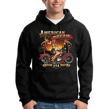 American Dream Made In The USA Motorcycle Pin Up Model Hooded Sweatshirt Hoodie