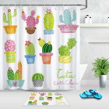 "Waterproof Fabric Potted Landscape Cactus Shower Curtain Set Bathroom Hooks 72"""