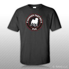 Danger Farting Pug T-Shirt Tee Shirt Free Sticker dog canine pet