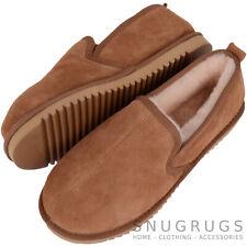 Mens Luxury Sheepskin Slipper / Indoor Shoe with Hard Sole Chestnut