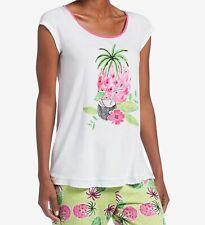 HUE Women's Cap-Sleeve Tropical-Graphic Pajama Top, White