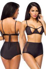 IAL 14192 Bügel-Bikini Soft-Cups High-Waist Bademode Sommer schwarz Bikini Beach