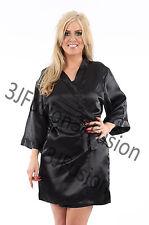 BLACK SATIN SEXY DRESSING GOWN ROBE WRAP KNEE LENGTH KIMONO FREE POSTAGE