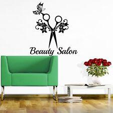 Hair Wall Decals Beauty Salon Decal Vinyl Sticker Hair Style Scissors Art MN471