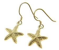 Sea Starfish Hook Leverback Earrings 15Mm Yellow Gold Plated Silver 925 Hawaiian
