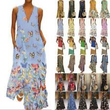 Womens Plus Size Sleeveless Boho Floral Maxi Dress Casual Loose Dresses Summer