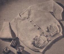 Vintage Knitting PATTERN Baby Sweater Cardigan Pockets