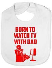 Born To Watch TV With Dad Baby Feeding Bib Gift