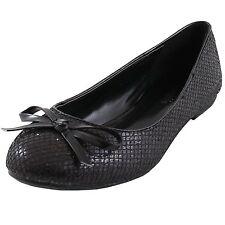 New women's shoes ballet flat ballerina black glitter bow round toe casual work