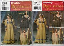 """CHOICE UNCUT Simplicity Renaissance Costume Collection Pattern """"Misses' Costume"""""""