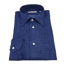 ICON LAB 1961 camicia uomo azzurro pois ghiaccio 100% lino regular slim