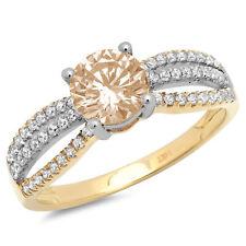 1.25ct Round Champagne Gem Classic Wedding Bridal Statement Ring 14k 2tone Gold