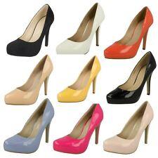 Ladies Anne Michelle Black Patent/Crinkle/Suedette Heels UK Sizes 3-8 F9775