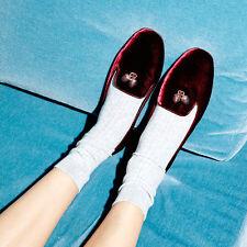 NEW Tory Burch Acorn Charm Smoking Slipper Loafers Shoes Borgundy Red Velvet 9