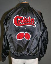 Black Satin Jacket-Chenille Cruisin' w/ Fuzzy Dice-COOL