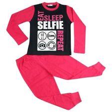 Infantil Pijama Diseñador Eat Sleep Selfie Repetir Rosa Ropa de Descanso 2-13