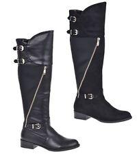 S311 - Ladies Black Buckle & Zip Bikers Low Heeled Riding Boots - UK 3 - 8