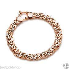 Technibond Two-Tone Byzantine Bracelet 14K Rose Pink White Gold Clad Silver HSN
