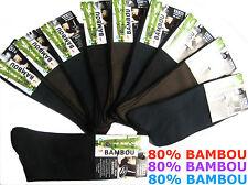 LOT DE 3 A 12 PAIRES DE CHAUSSETTES EN BAMBOU - SANS COUTURE - TOP QUALITE