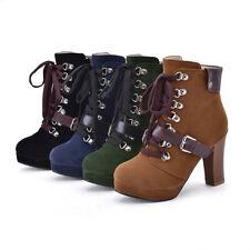 Women High Heels Lace Up Platform Boots Punk Gothic Clubwear Party Retro Shoes