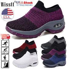 Womens Air Cushion Walking Running Sports Comfy Sock Sneakers Mesh Slip On Shoes