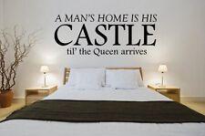 """""""Un Homme'S HOME est son château til"""" la reine arrive le Drôle Citation Murale/Stickers"""