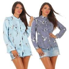 Damen Hemdbluse Bluse gestreift Sommerbluse Rüschen Volant Vogel Print One Size