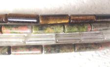 stone tube 4x13mm 16 inch strand :crystal,rhyolite,tiger's eye,unakite