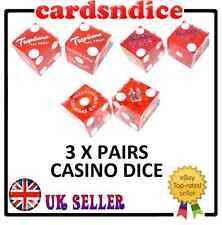 3 Pares de Tradicional Rojo US Casino Dados / Dados - Tienda Liquidación