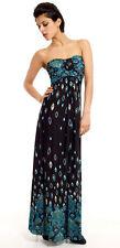 LADIES LONG BLUE EVENING PARTY DRESS BANDAU STYLE MAXI EMPIRE WAIST NEW 8-10-12