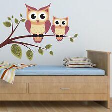 Full Colour Owls Branch Wall Art Sticker Decal Mural Transfer Girls Boys Bedroom