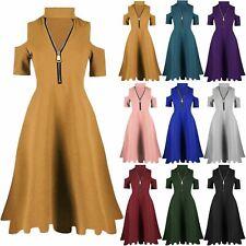 Womens Ladies Cold Cut Shoulder Keyhole Cut Choker Neck Zip Up Swing Midi Dress