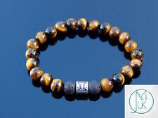 Gemini Tiger Eye Lava Birthstone Bracelet 6-9'' Elasticated Healing Stone Chakra