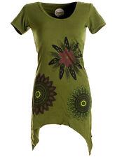 Vishes asymmetrisches Longshirt, Elfen Tunika mit großen Blumen bedruckt