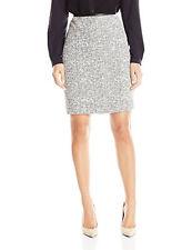 Calvin Klein Women's Petite Boucle Straight Skirt, White/Black,