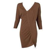 NWT $149 Designer WITCHERY Cotton Silk Cashmere Asymmetric Knit TUNIC Bronze