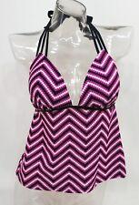 SO Pink Chevron Open Back Push Up Swim Tankini Top Juniors' XS,S,M,L #2108